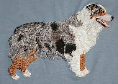 Embroidered Short-Sleeved T-shirt - Australian Shepherd I1240 Sizes S - XXL