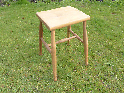 Victorian Elm, Ash + Beech Stool  Turned Legs with Cross Stretcher + Oblong Top