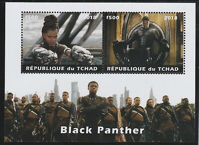 7386  CHAD 2018 BLACK PANTHER perf  sheetlet containing 2 values unmounted