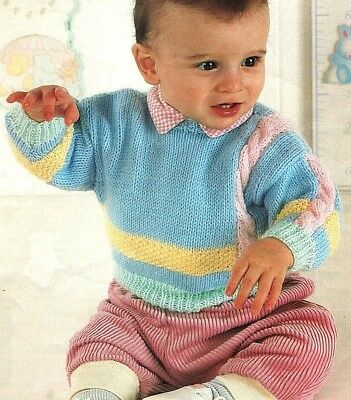 """Sweater with Side Cable & Moss Stitch Stripe 16"""" - 24"""" DK Baby Knitting Pattern"""