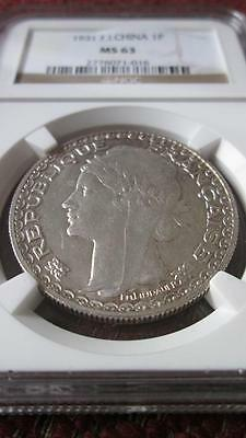 French Indochina 1 Piastre 1931 NGC MS 63