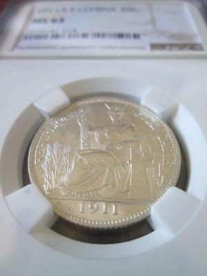 French Indochina 20 Cents 1911A NGC MS 63