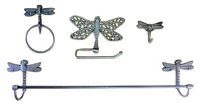 Cast Iron Dragonfly  Bath Accessories Set 4 pc Vintage Look cottage decor shabby