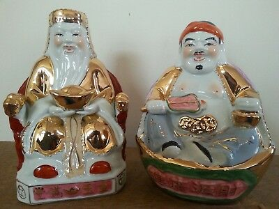 """1Pair Chinese Fengshui Land Mammon Money Wealth God Buddha Statues 8""""H"""