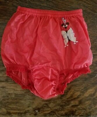 61066870b560 VINTAGE YOUNG GIRLS RED NYLON PANTIES w/LACE + BUTTERFLY APPLIQUE NOS UNWORN