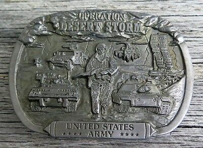 Operation Desert Storm United States Army Military 1990's Vintage Belt Buckle