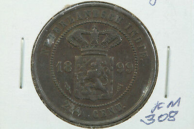 1899 Netherlands East Indies 2 1/2 Cent XF KM# 308