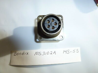 LOT of FOUR  Bendix MS3102A 14S-5S  5 pin  MIL-SPEC CONNECTOR