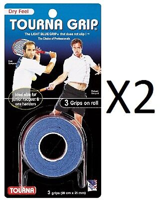 Tourna Tennis Racquet 3 Overgrips Absorbent Dry Feel Tournagrip Blue (2-Pack)