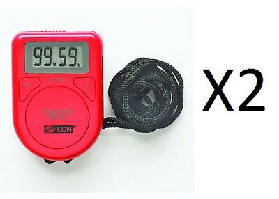 CDN Red Digital Timer w/ Rope, LCD Screen Cooking Count Up Or Down (2-Pack)