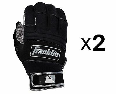 Franklin Sports All Weather Pro Baseball Batting Gloves XL Gray/Black (2-Pack)