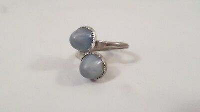 Vintage Sarah Coventry 2 Blue Dome Stone Ring Size 5 1/2