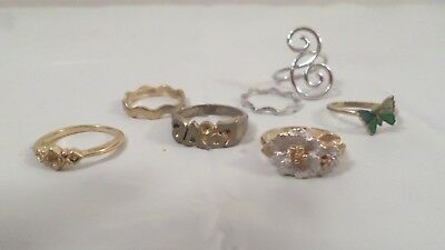 Lot Vintage Rings Wavy Bands Butterfly Floral Size 5, 6, 7