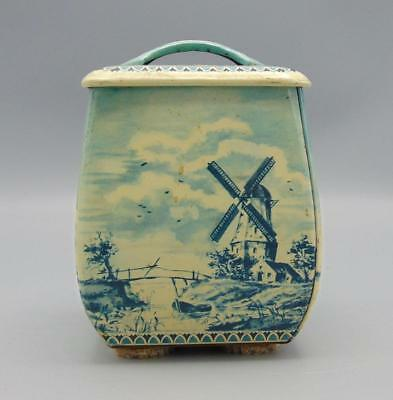 Tin Tea Coffee Tobacco Canister Holland Windmill Sail Ship West Germany