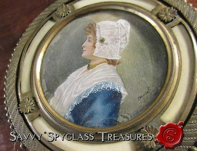 Antique Gilt Bronze Mirror with Hand Painted Miniature Portrait Signed Derval