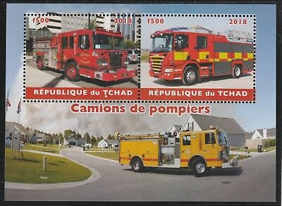 7394 CHAD 2018 FIRE TRUCKS  perf  sheetlet containing 2 values unmounted mint
