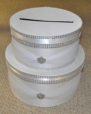 White Wedding 2 Tier Card Box With Lock And Key 49 81 Picclick Uk
