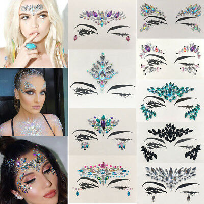 Crystal Face Jewelry Festival Party Body Glitter Stickers Tattoo Eyes