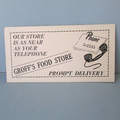 INK BLOTTER Groff Grocery Food Store Advertising Delivery Pennsylvania Vintage