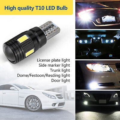 2x T10 Super Power White LED Daytime Fog Lights Bulb License Plate Lamp 6000K