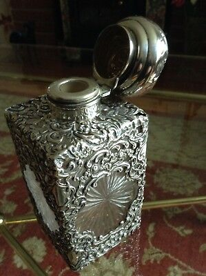 Beautiful Hallmarked Solid Silver Cut Glass Perfume/Scent Decanter C1903
