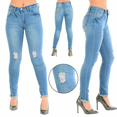 Ladies Womens Faded Ripped Skinny Frayed Hem Distressed Destroyed Denim Jeans