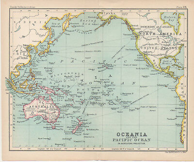 J. Bartholomew map of Oceania and the Pacific Ocean, circa 1908.