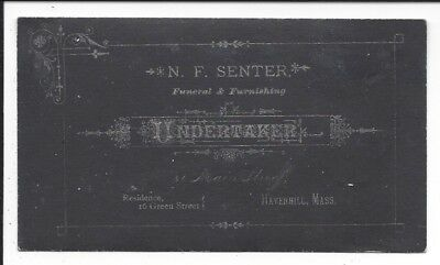 Undertaker's Business Card, Silver Ink on Black Background, Haverhill, MA c1880