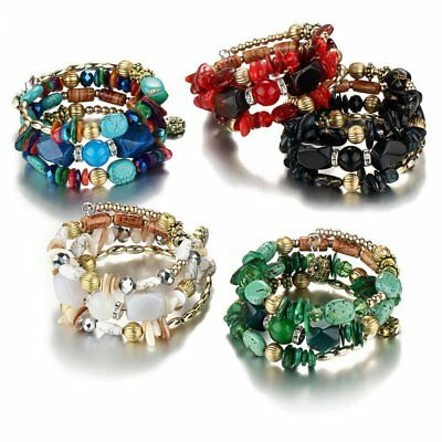 Multilayer Natural Stone Tophus Agate Beaded Bracelet Bangle Women Jewelry Gift