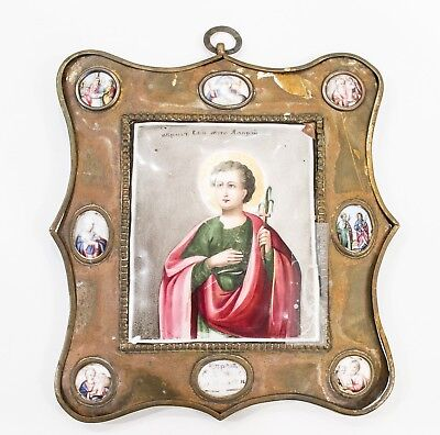 Old Antique Russian Icon Finift of Saint Alary