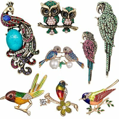 Parrot Bird Owl Peacock Animal Pearl Crystal Shell Women Brooch Pin Jewelry New