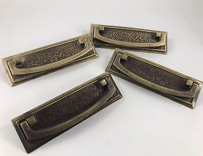 Set Of 4 Antique/vintage Hammered Brass Drawer Pulls