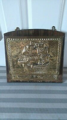Vintage Brass On Wood Wall Letter Rack Sailing Ship Maritime