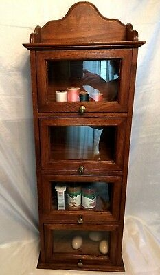 Vintage Oak Country Store Counter/Wall Display Case Glass Front Drawers ExcCond