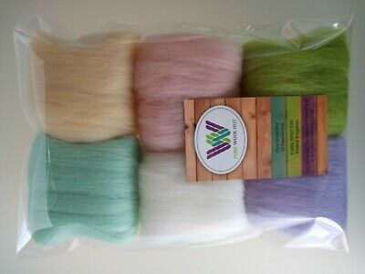 Easter Egg* Wool Tops for Felting, White Pink Lilac Blue Yellow Green set of 30g