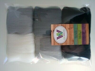 Grey set * Pure Wool Tops for Felting, Packs of 6 Colours, 30g