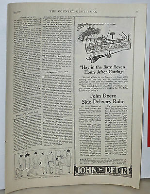 1927 magazine ad for John Deere Side Delivery Rake - Hay in barn 7 hrs after cut