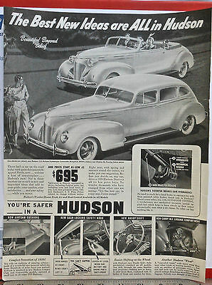 Vintage 1939 magazine ad for Hudson - Convertible Brougham, Touring Sedan