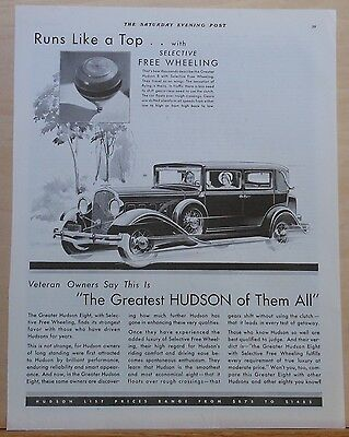 Vintage 1931 magazine ad for Hudson - With Selective Free Wheeling, Hudson 8