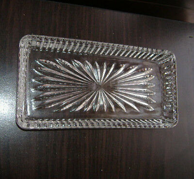 "Vtg Cut Glass Relish Dish Liner Replacement ONLY Starburst Pattern 7"" Austria"