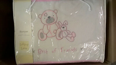 Brand New Lollipop Lane Pink Teddy Best Friends bumper 35x155cm