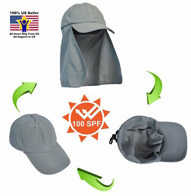 Baseball Cap Sun Flap Trucker Hat with Neck Cover Curved Cotton Solid Hiking 047d803e4a7
