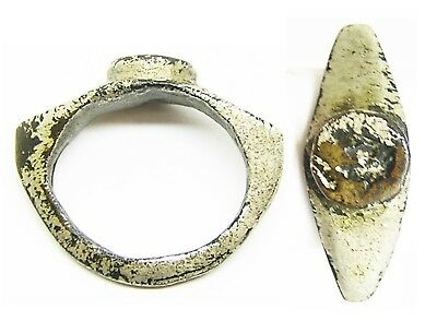 2nd - 3rd century A.D. Ancient Roman Tinned Bronze Signet Ring Wearable Size 5