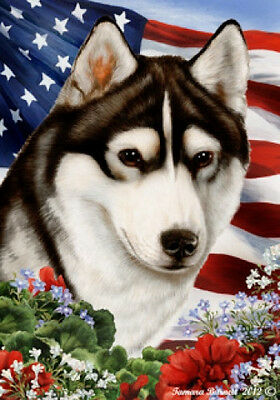Garden Indoor/Outdoor Patriotic I Flag - Black & White Siberian Husky 160381