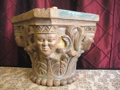 Antique  19th hardwood carved Column capital