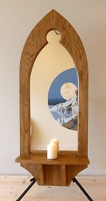 Gothic Arch Wooden Oak Keyhole Mirror with Shelf and Brackets 123 cm Hand Made