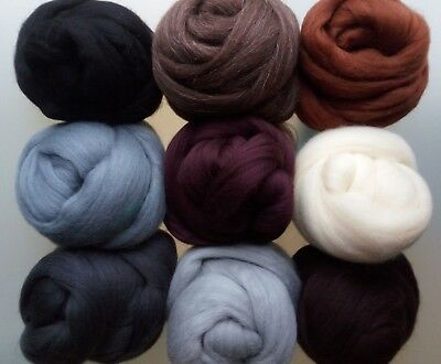 Animal Family* Merino Wool Tops for Felting Black Brown Grey... 9 hues to choose