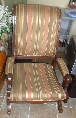 CA0001 Antique Victorian Eastlake Gothic Revival Platform Rocking Chair Rocker