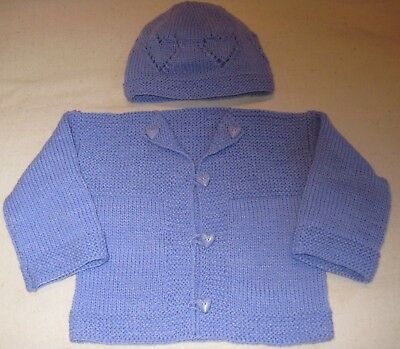 Baby Sweater Hat Set Sweet Violet with Hearts Size 9 to 12 Months Hand Knit