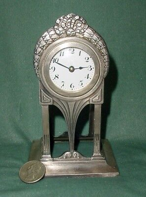 Antique Germany Wmf I/O Ox Anezin & Cia Table Clock Glass Enamel Numbers Works!